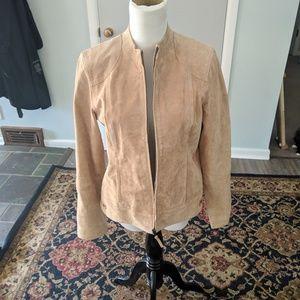 Ruff Hewn tan/cream suede zip up jacket